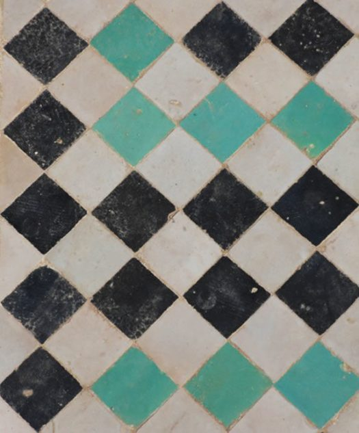 argyle moroccan tile in teal, black and white. / sfgirlbybay