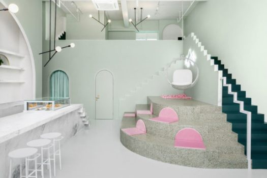 pink and green palette inside budapest cafe. / sfgirlbybay