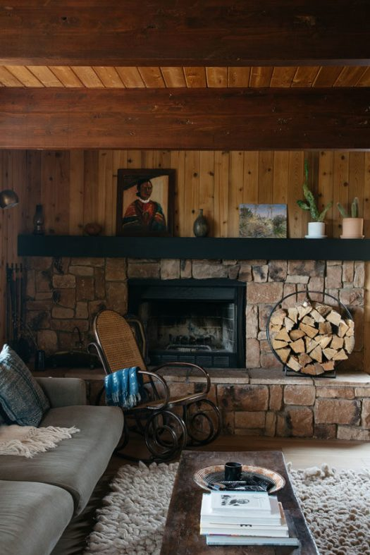 rock wall fireplace in malibu hills home. / sfgirlbybay