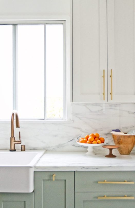 green kitchen cabinets with marble backsplash and countertops. / sfgirlbybay