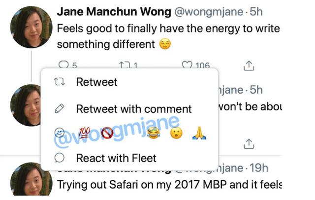 reaction su Twitter