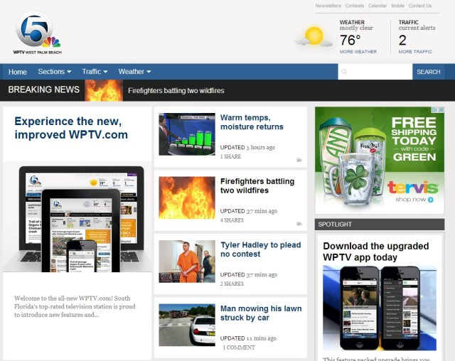 WPTV website WPTV.com Redesigned