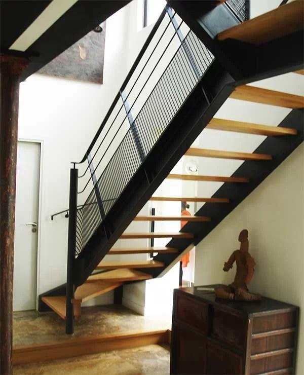 Escalier industriel moderne bois et metal fabrication pose SFMP 78