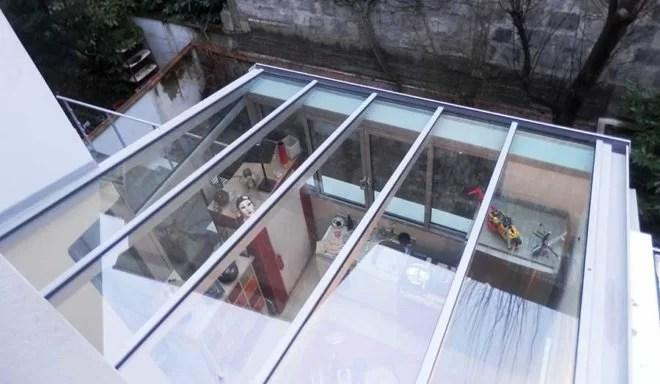 Pose d'un toit vitré en aluminium sfmp 78