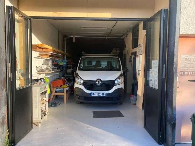 porte de garage aluminium acier 4 vantaux coulissant