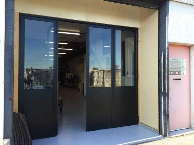 Porte vitrée aluminium acier sur mesure