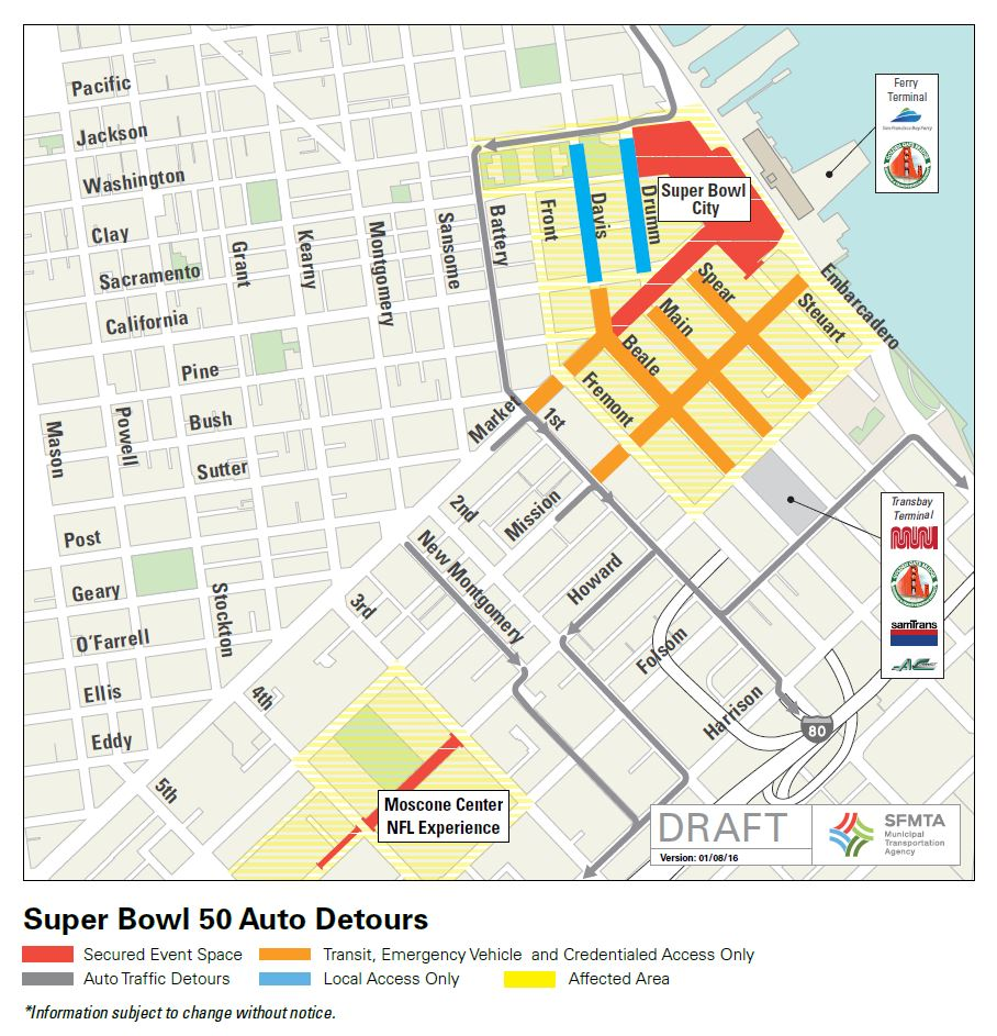 Map of downtown SF shows Super Bowl event areas and traffic detours.
