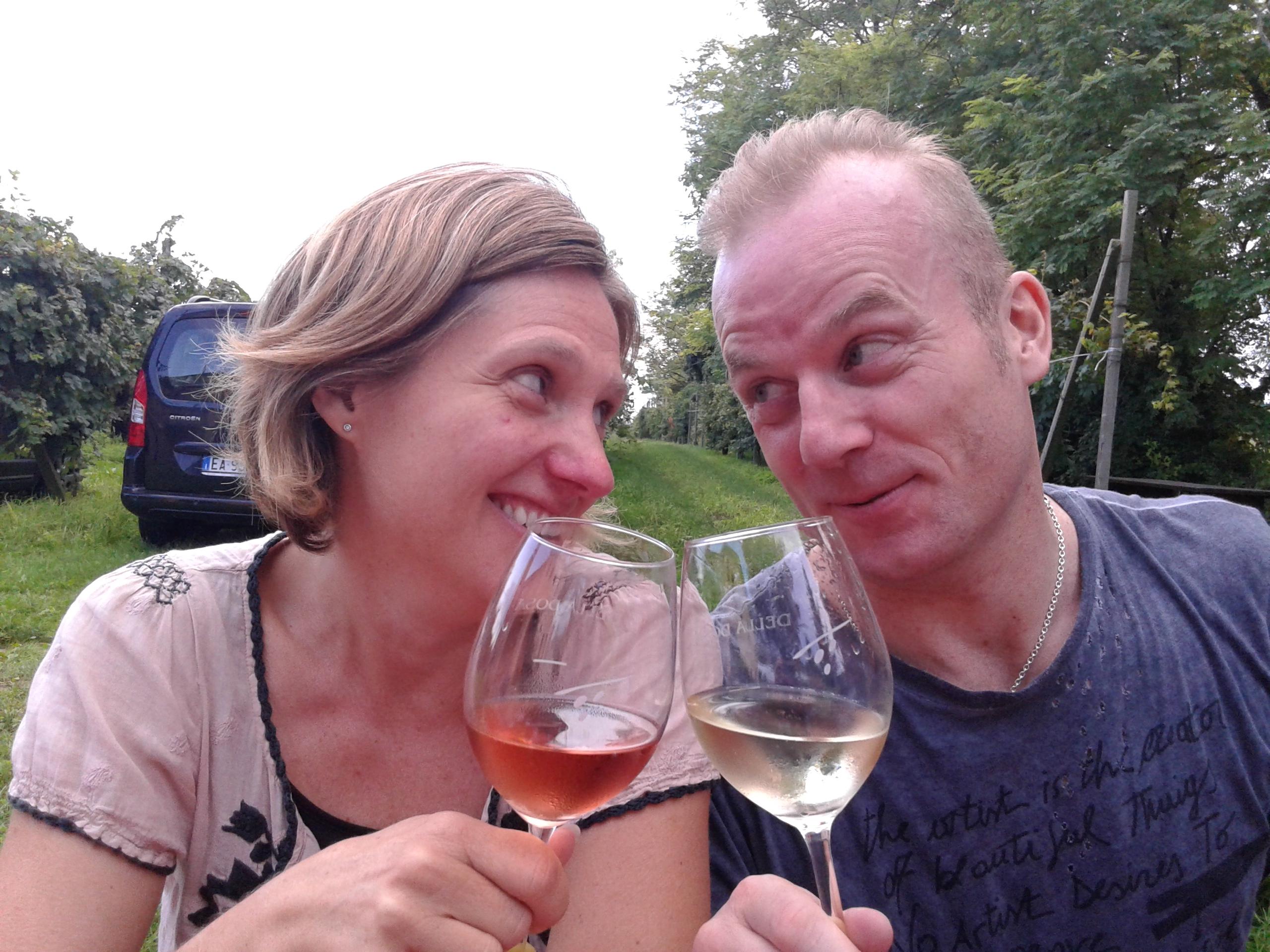 Sfriso customers drinking wine