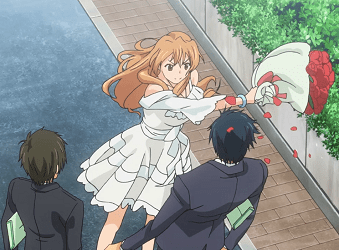 Kouko, demonstrating her depth of affection by battering her beloved with roses.