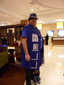 TARDIS Cosplay at ConFusion 2012. Look closely for a tiny Doctor Who.