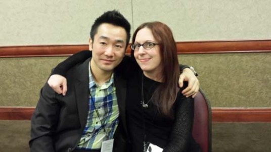 Wesley Chu and Cherie Priest at the mass autograph session
