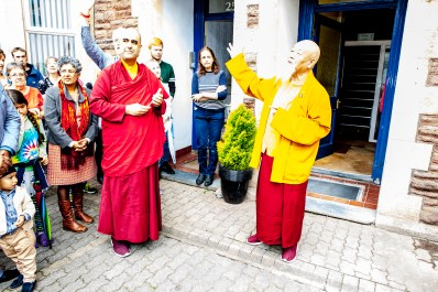 Picture: 'For the Buddha, the Dharma, and the Sangha. Three doors, this is very auspicious' - Choje Lama Yeshe Rinpoche.