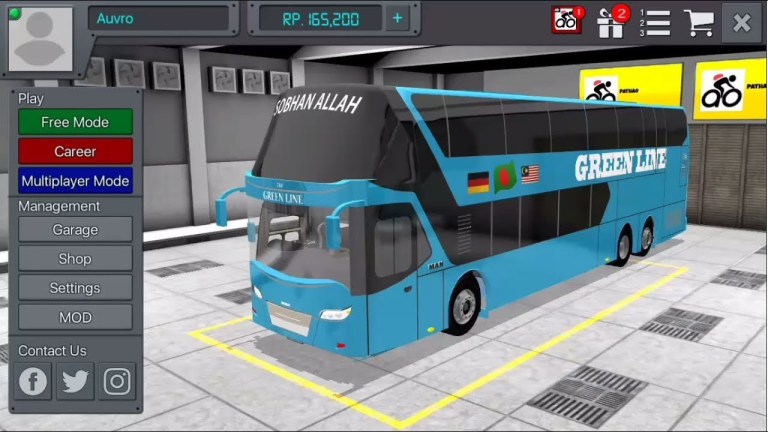 Green Line MAN DD Bus Mod for Bus Simulator Indonesia