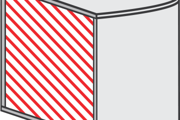 diagram of top and bottom layers, shell side walls and the infill (dashed) in a 3d printed (rapid prototyped) part