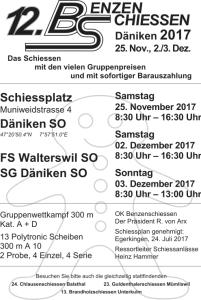 12. Benzenschiessen in Däniken. Es findet am 25.11.17, 2.12.17 und den 3.12.17 statt.