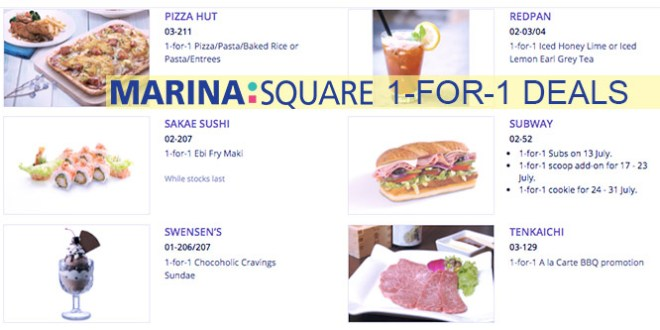 1 for 1 dining deals at Marina Square in July 2016