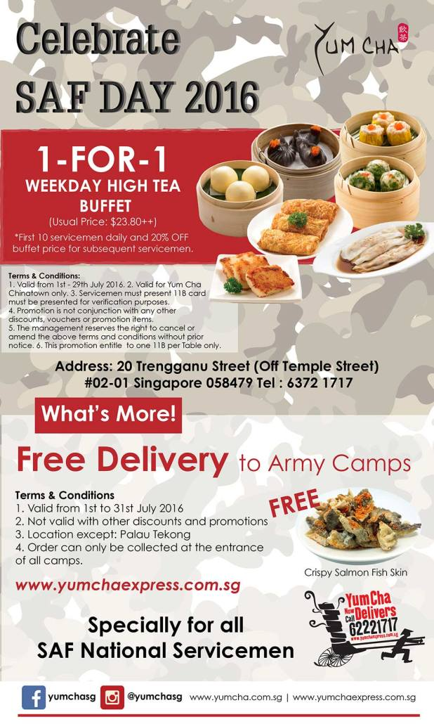 Yum Cha Restaurant 1-for-1 buffet SAF Day Promotion