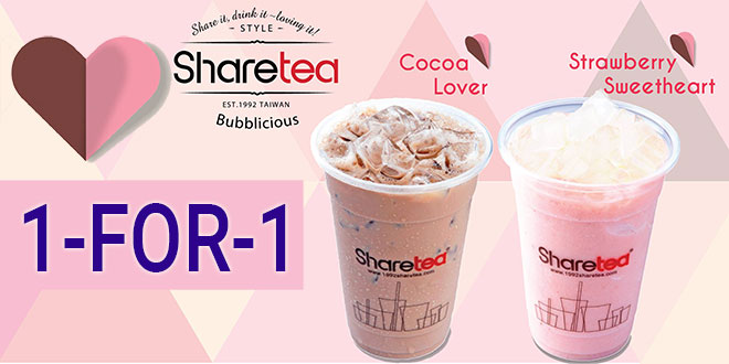 Sharetea 1 for 1 promo 25 feb 2017