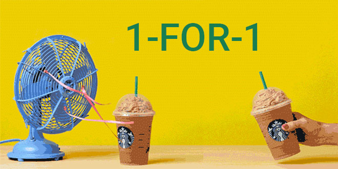 1-for-1 beverages for Starbucks members