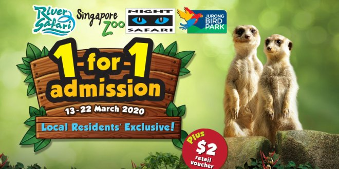 1-for-1 admission at Singapore Zoo, River & Night Safari, and Jurong Bird Park