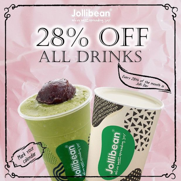 28% OFF All Drinks at Jollibean on every 28th of the month