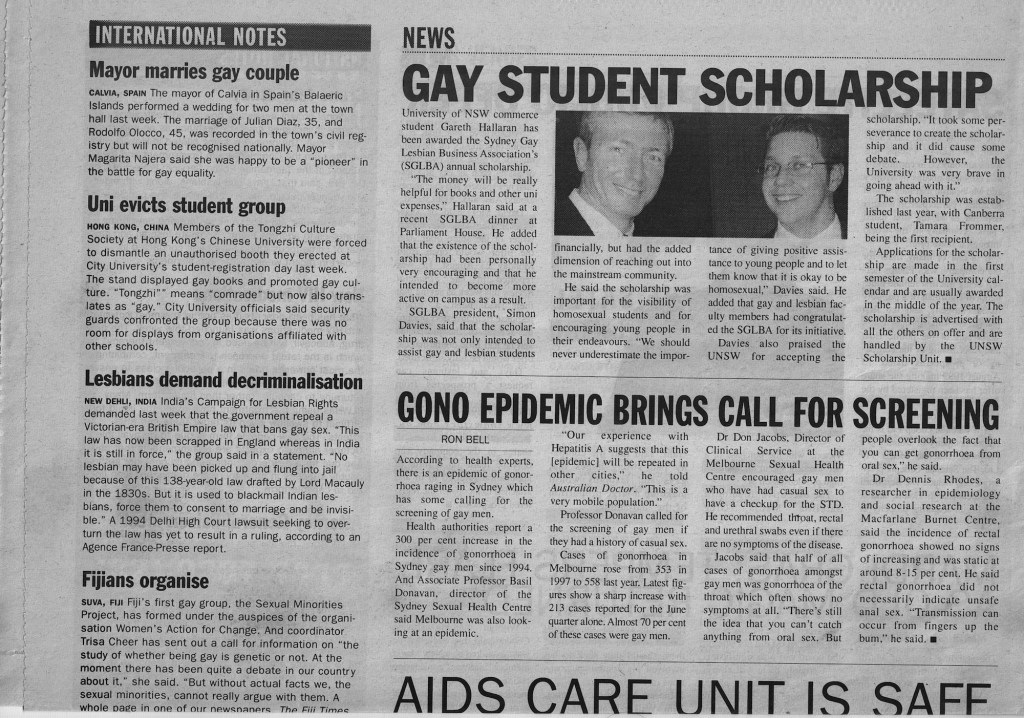 SOURCE: Capital Q Weekly newspaper, 20th August 1999, p.4