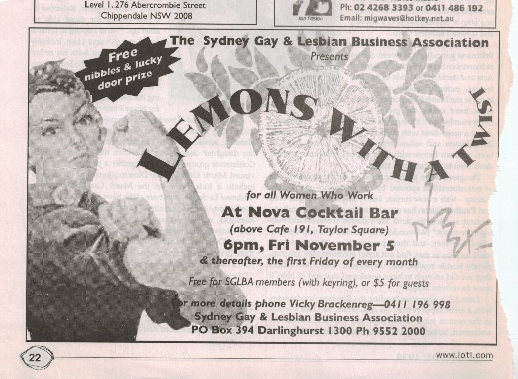The month following the first Lemons with a Twist, this ad was placed in LOTL magazine November 1999.