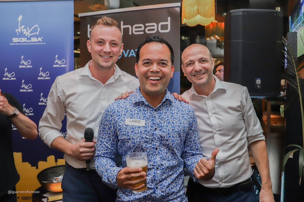 Jonny Heron Membership Director of SGLBA, Lance Collison business card winner and John Orrock Founder and Director of Barhead