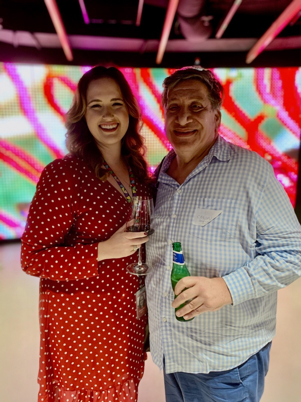 (L-R) Natasha Badrov - Googler & past SGLBA Board Member and Colin Paull owner of Belloccio Restaurant on Oxford Street and the 2019 Honour Awards Business Category Winner.