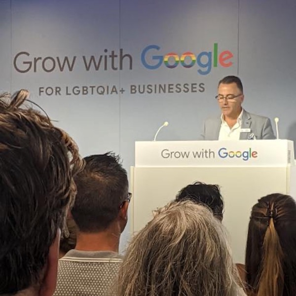 Scott Duncombe - SGLBA Partnerships Director delivering opening remarks and extending thanks to Google for hosting Grow with Google.