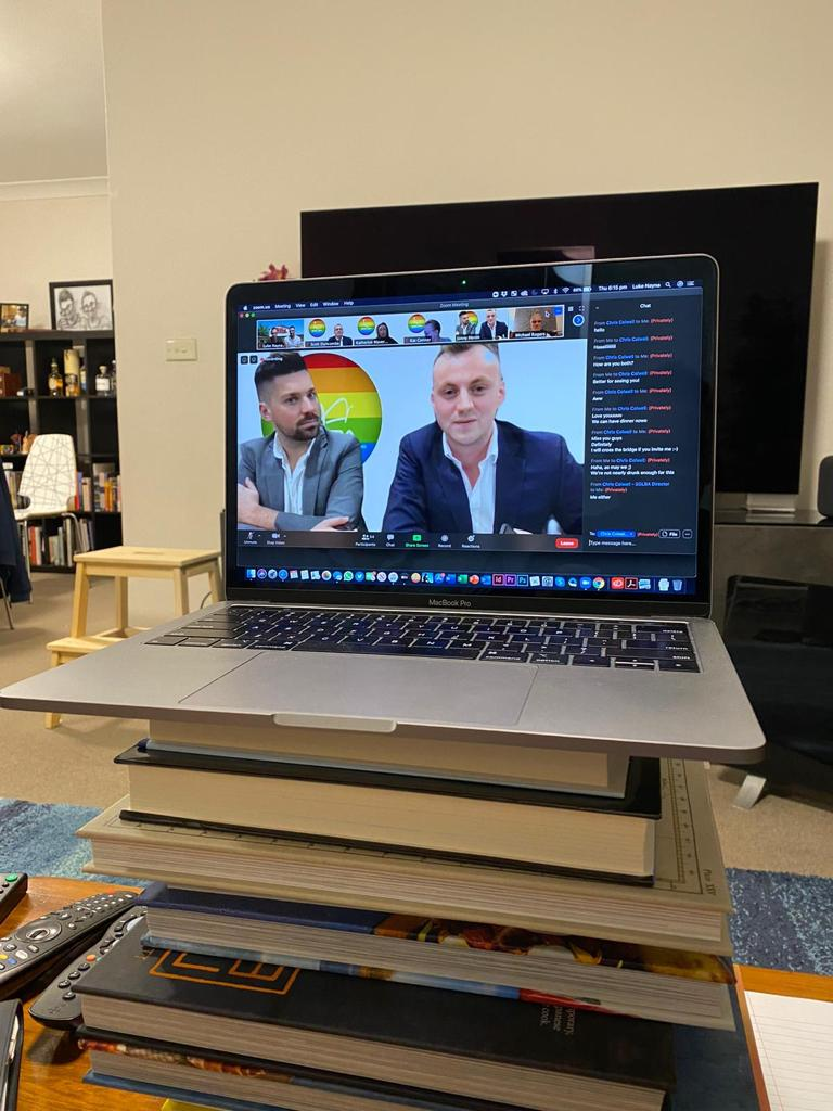 ZOOM Pro Tip from Aaron & Jonny: To avoid others looking directly up your nose during the ZOOM, elevate your laptop so your camera is closer to eye level. Or, slouch down in your chair - however elevating your laptop with books is probably a better idea and better for your overall spine health!