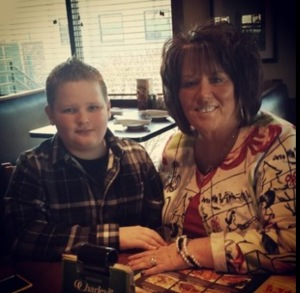 Reva Hoskins and her grandson, Chad. He loves traveling with the family and playing football.