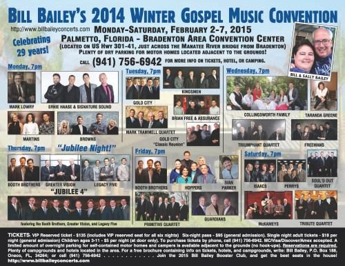 Bill Bailey's 2015 Winter Gospel Music Convention returns to Palmetto, FL!