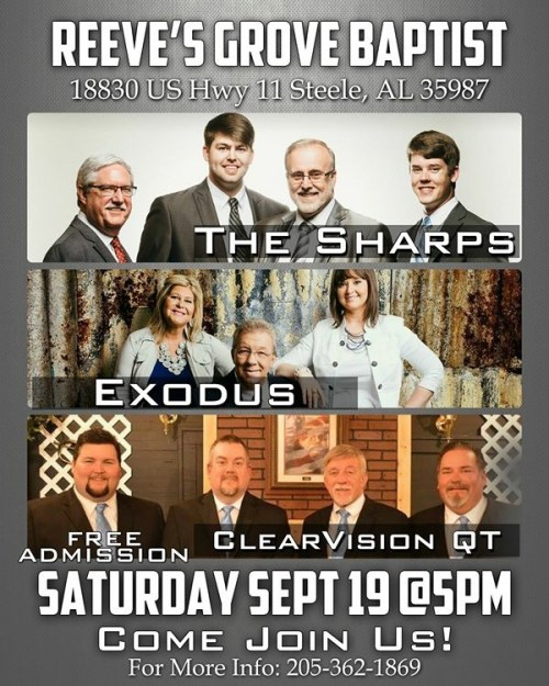 Southern Gospel This Saturday, Sept 19, Reeve's Grove Baptist Church