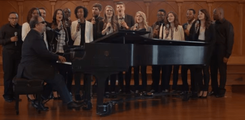 Gordon Mote records performance videos with award-winning vocal ensemble The Voices of Lee.