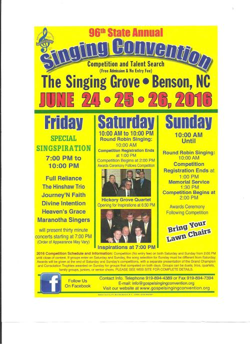 96th North Carolina State Annual Singing Convention