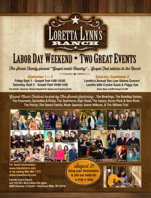 """Gospel Music Festival at Loretta Lynn's Ranch Announces """"Sing-a-long"""" August 31, 2017"""