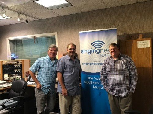 From left, Greg Bentley, Crossroads/Sonlite Records; Ricky Carden, Down East Boys; and Greg Goodman, Singing News Radio.