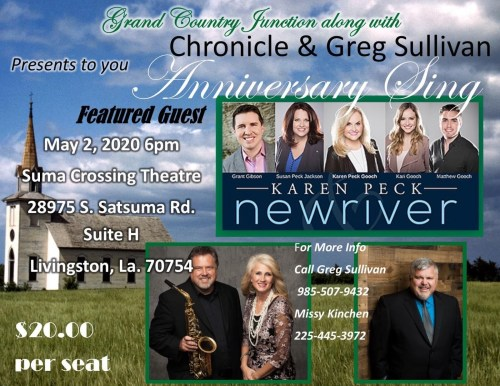 Chronicle Announces 11th Annual Anniversary Sing Featuring Karen Peck and New River