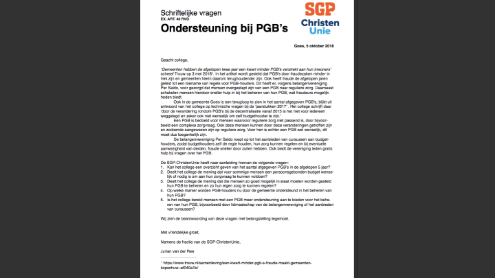 SGP-ChristenUnie wil ondersteuning bij PGB's