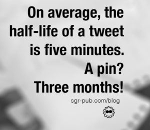 Pinterest for authors: On average, the half-life of a tweet is five minutes. A pin? Three months!