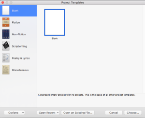 How to set up a project in Scrivener - the initial form