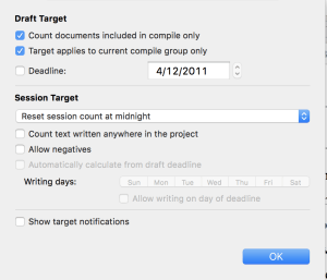 Scrivener Drafting Tips: Project Targets