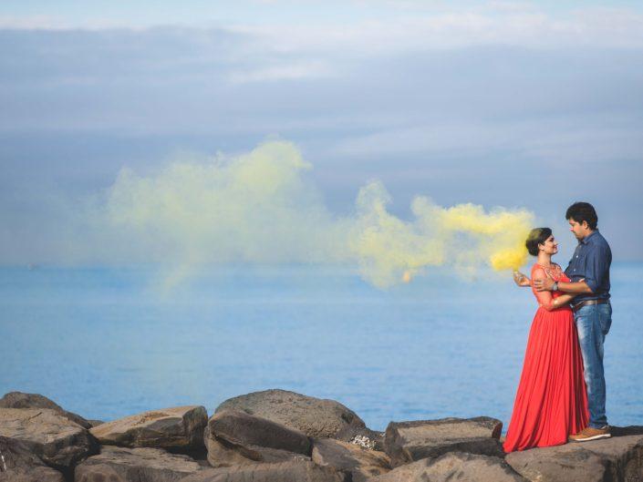 Smoke Bomb Wedding Photography