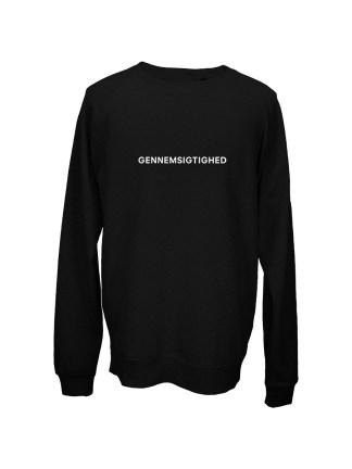 Sweatshirt sort med tryk – gennemsigtighed