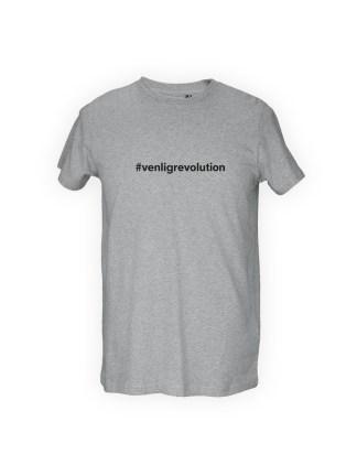 graa herre T-shirt med tryk - VENLIGREVOLUTION