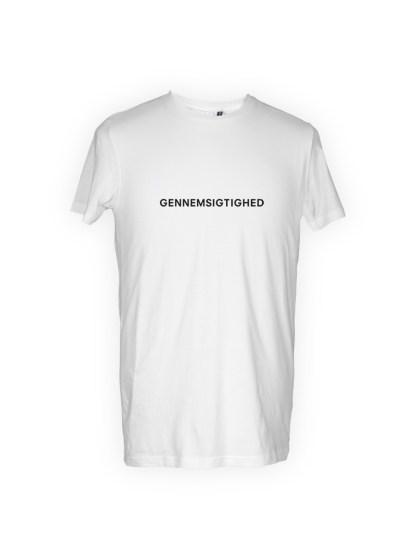 hvid herre T-shirt med tryk - gennemsigtighed