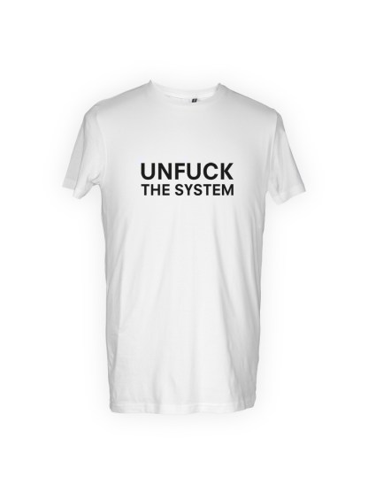 hvid herre T-shirt med tryk - unfuck the system