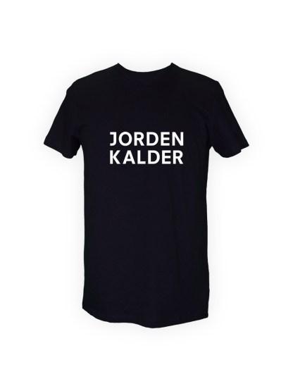 sort herre T-shirt med tryk - JORDEN KALDER