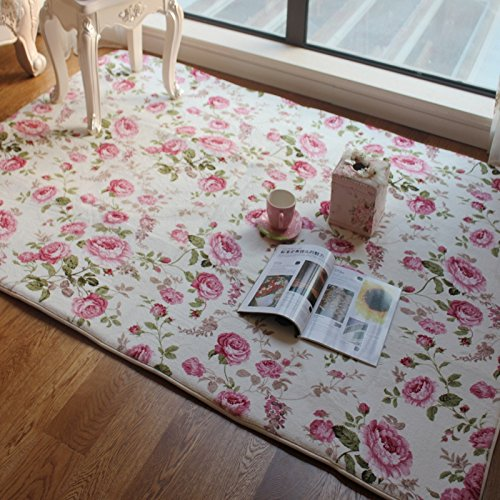 FADFAY Home TextileRomantic American Country Style Floral Room Floor MatsSweet Pink Rose Print